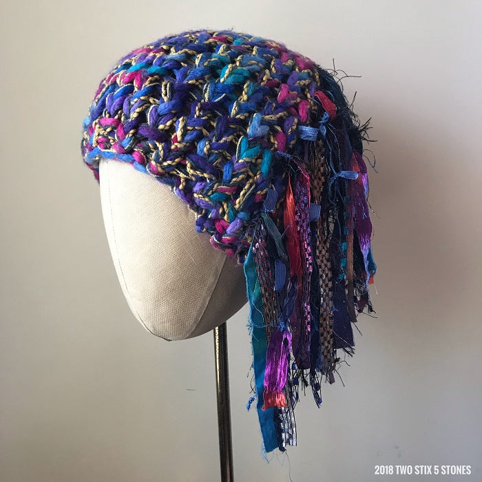 Purple/Blue/Yellow Tweed *Funky Chic Hat*