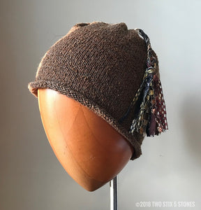 Brown Tweed Tassel Hat