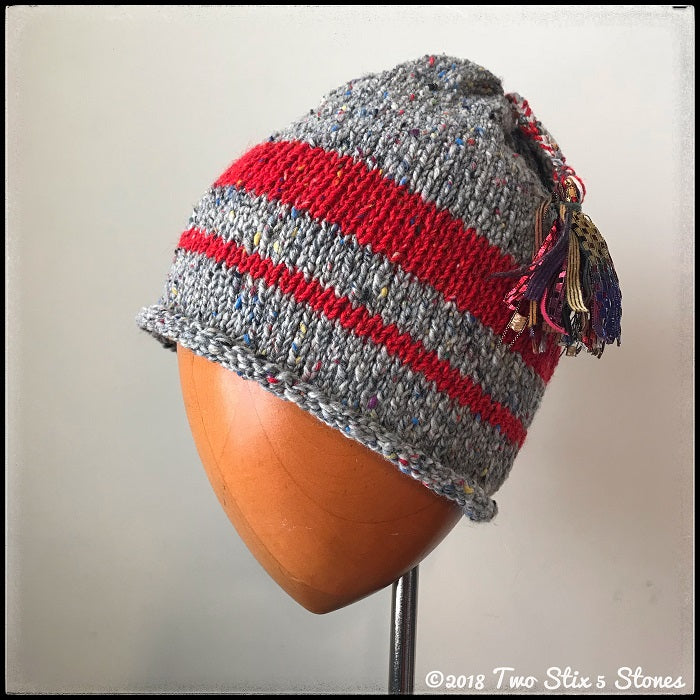 Grey & Red *Funky Chic* Tassel Hat