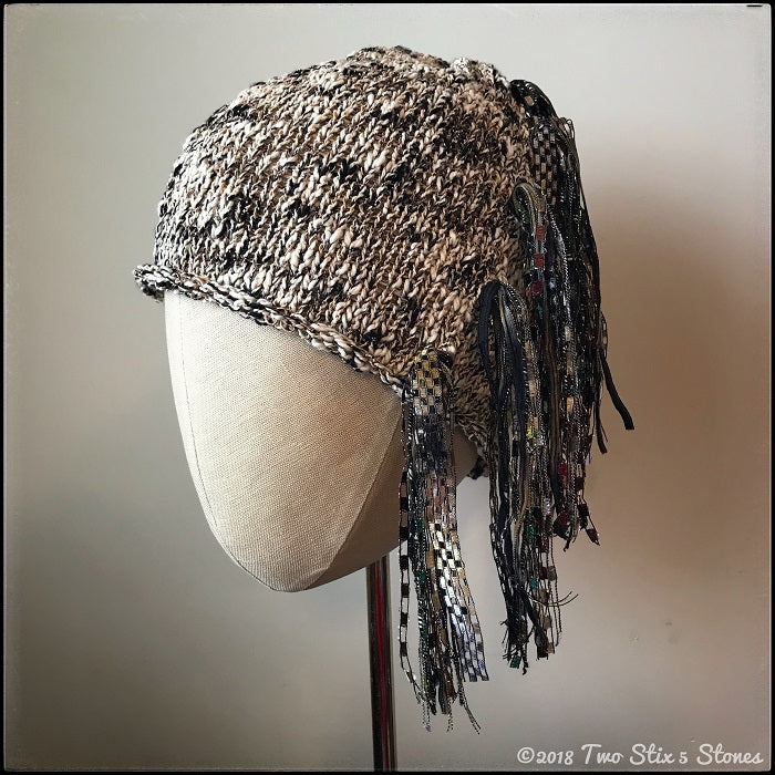 Oatmeal & Black Tweed *Funky Chic Hat*