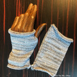 Grey & Lavender Tweed Fingerless Gloves
