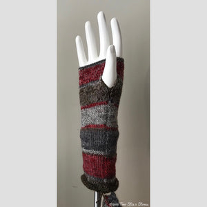 Grey & Red Tone Fingerless Gloves