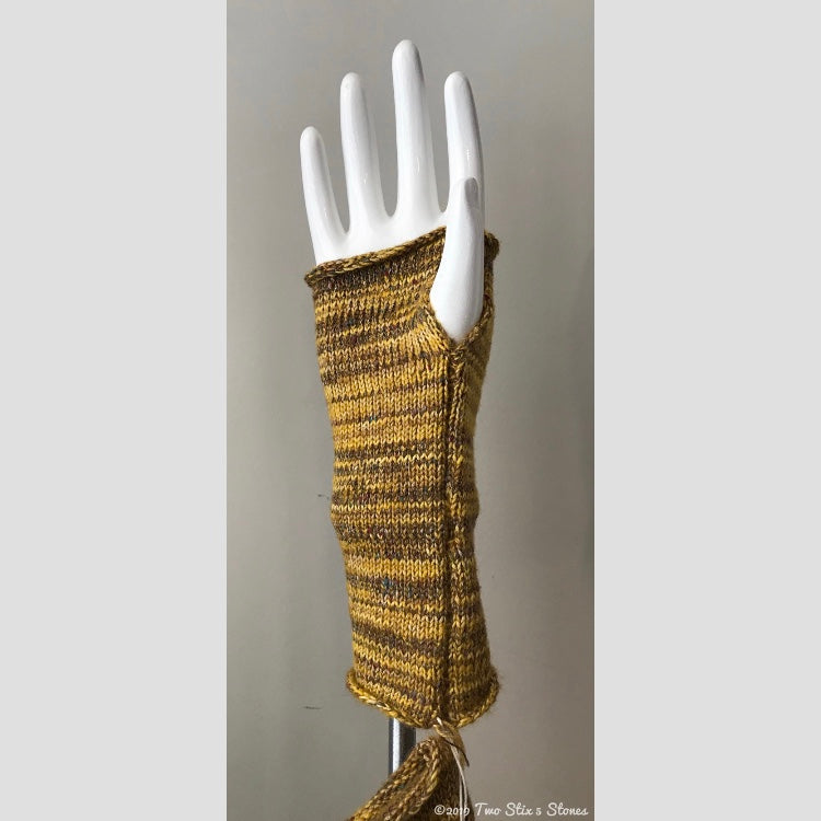 Golden Tweed Fingerless Gloves