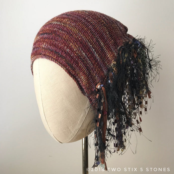 Burgandy Tweed *Funky Chic Hat* (FH013)