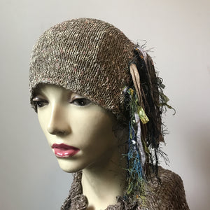 Tan & Grey Tweed *Funky Chic Hat* (FH12)