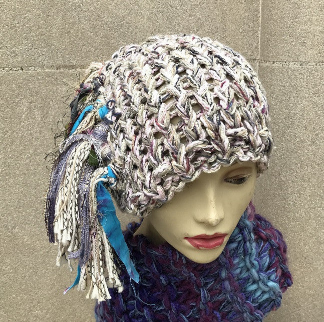 Natural Pink Tweed Funky Chic Hat (FH1)