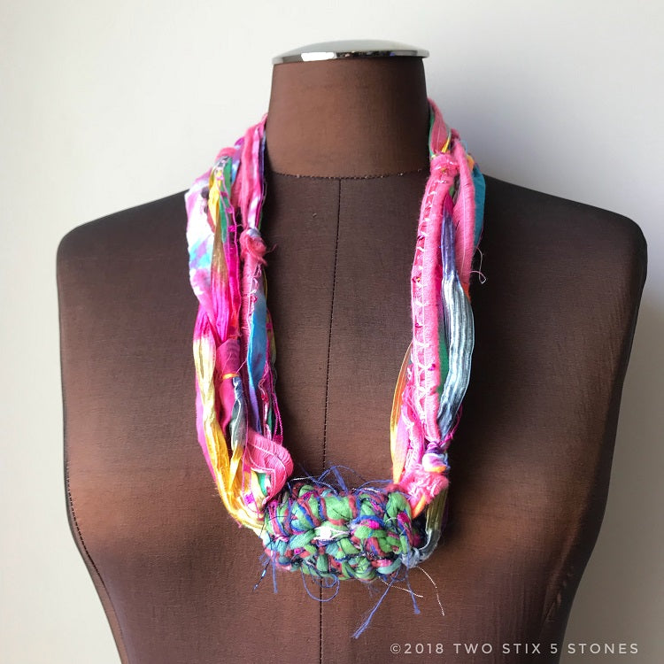 Multi-Colored Fiber Necklace w/Band