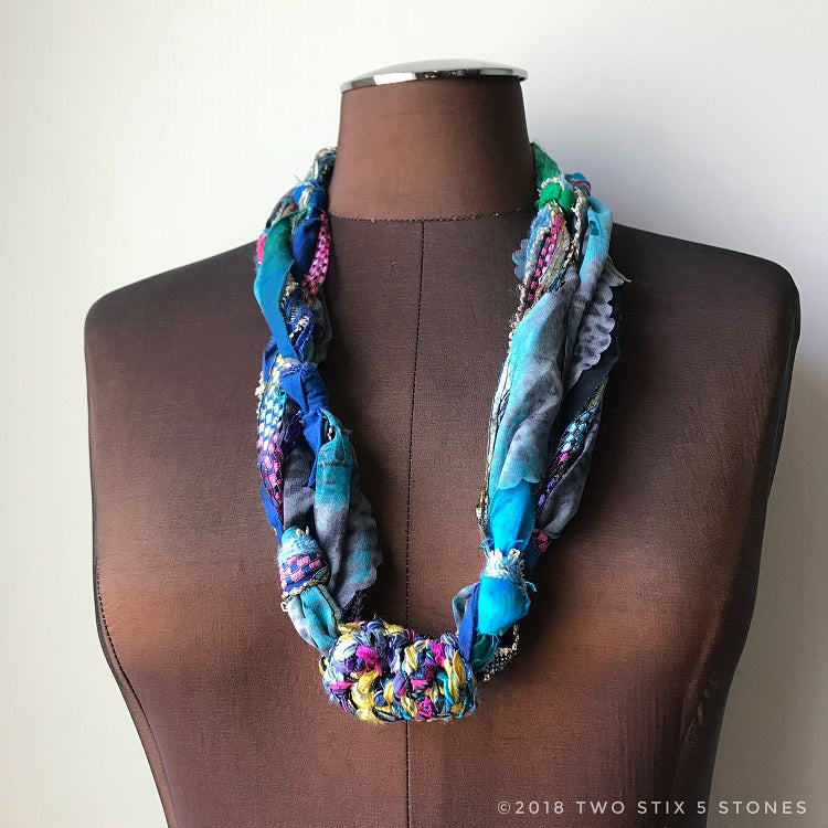 Blue Toned Fiber Necklace