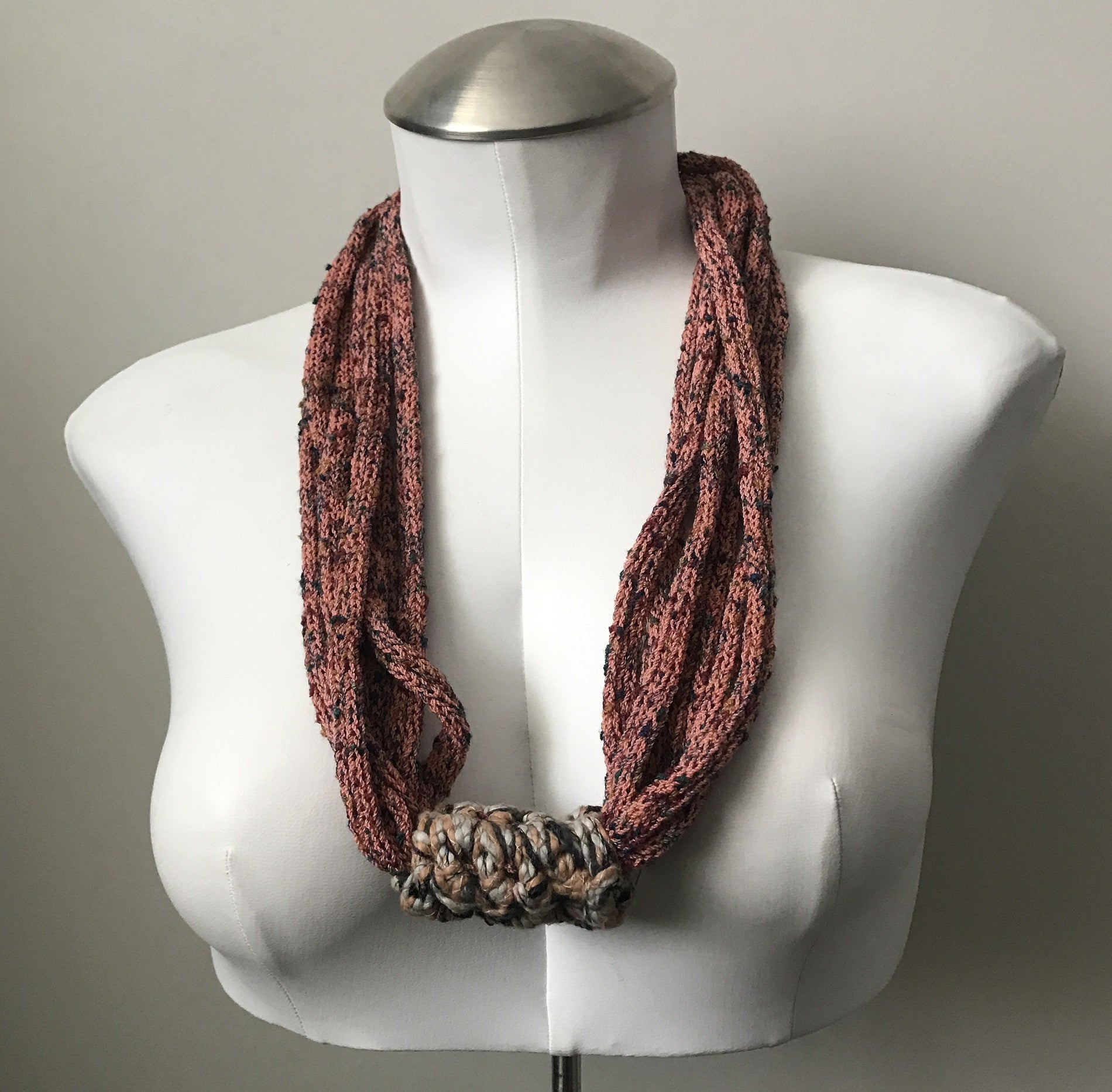 Peachy Orange Tweed Fiber Necklace (FN03)
