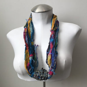 Bright Multi-Color Fiber Necklace (FN702)