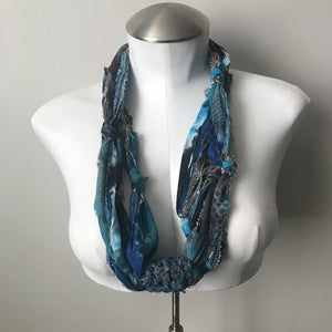 Blue Toned Fiber Necklace (FN703)