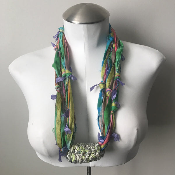 Pastel Toned Fiber Necklace (FN707)