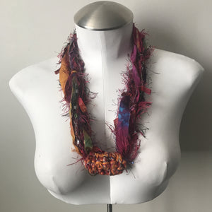 Pink & Red Toned Fiber Necklace (FN708)