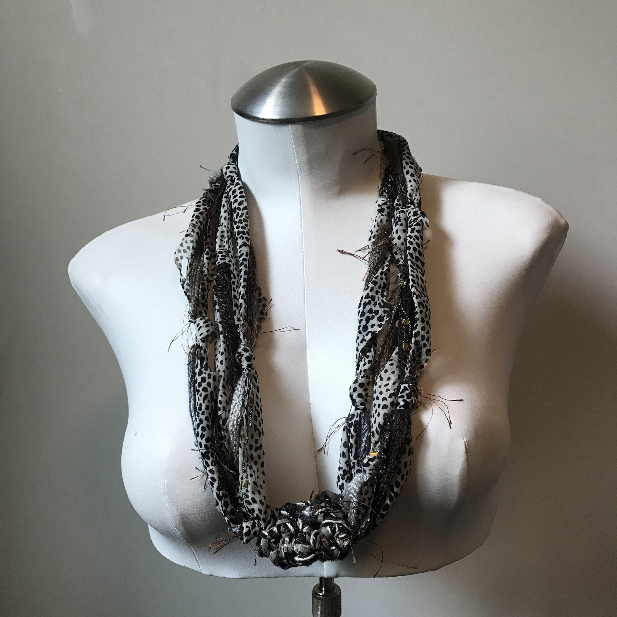Brown & Grey Fiber Necklace (FN709)