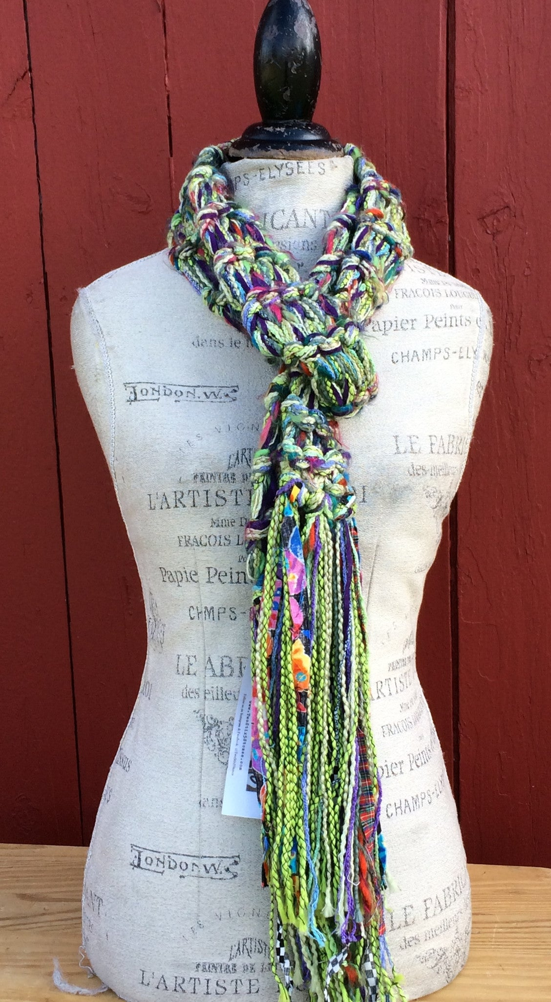 Luxe Green Tweed Scarf w/Fringe