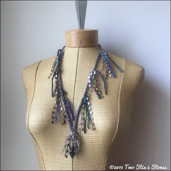 Brown/Grey/Blue Tweed Fiber Necklace w/Stones