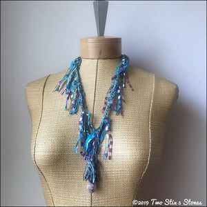 Blue Tweed Fiber Necklace w/Stones