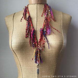 Red Tweed Fiber Necklace w/Stones (FSB00)