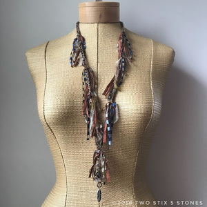 Tan Toned Fiber Necklace w/Stones (FSB03)