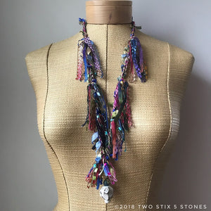 Pink/Blue/Green Toned Fiber Necklace w/Stones (FSB04)