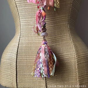 Pink & Yellow Toned Fiber Necklace w/Stones (FSB06)