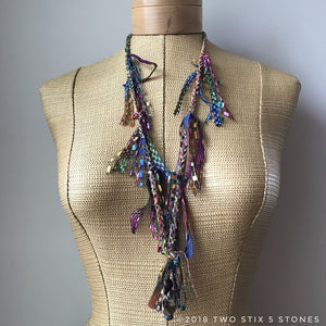 Multi-Colored Tweed Fiber Necklace w/Stones (FSB08)