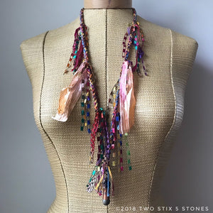 Red & Pink Toned Fiber Necklace w/Stones (FSB09)