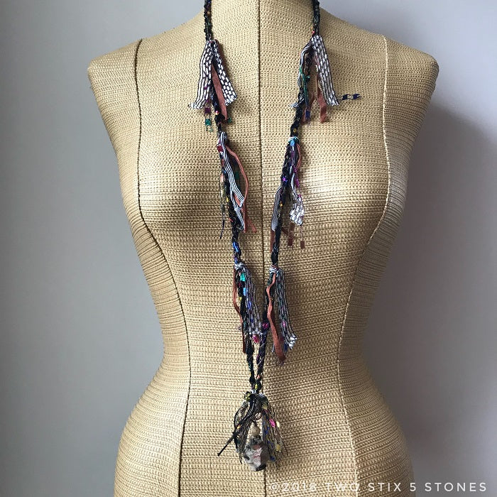 Black & Brown Tweed Fiber Necklace w/Stones (FSB15)