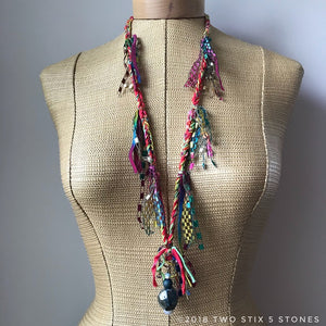 Red Tweed Fiber Necklace w/Stones (FSB16)