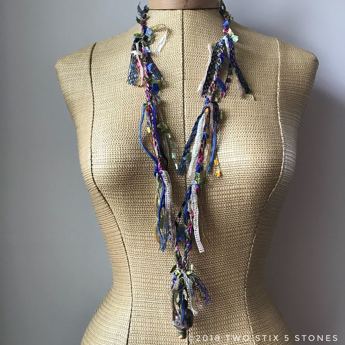 Pink/Blue/Green Toned Fiber Necklace (FSB18)