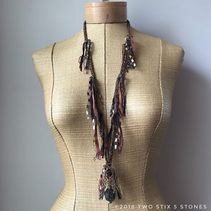 Brown Tweed Fiber Necklace w/Stones (FSB24)