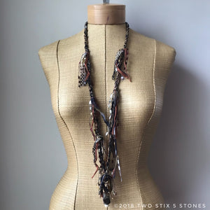 Brown Toned Fiber Necklace w/Stones (FSB25)