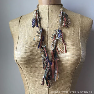 Tan Tweed Fiber Necklace w/Stones (FSB26)
