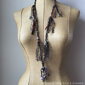 Brown & Black Tweed Fiber Necklace w/Stones (FSB27)