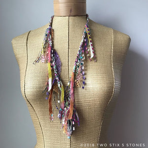 Pastel Tweed Fiber Necklace w/Stones (FSB35)