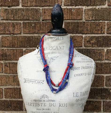Blue & Red Tweed Fiber Art Necklace w/Metal Beads