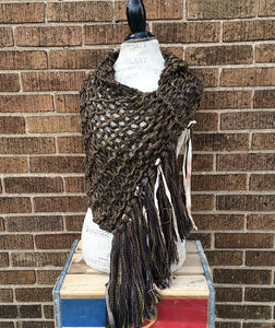 Military Chic Brown & Green Tweed Shawl w/Fringe