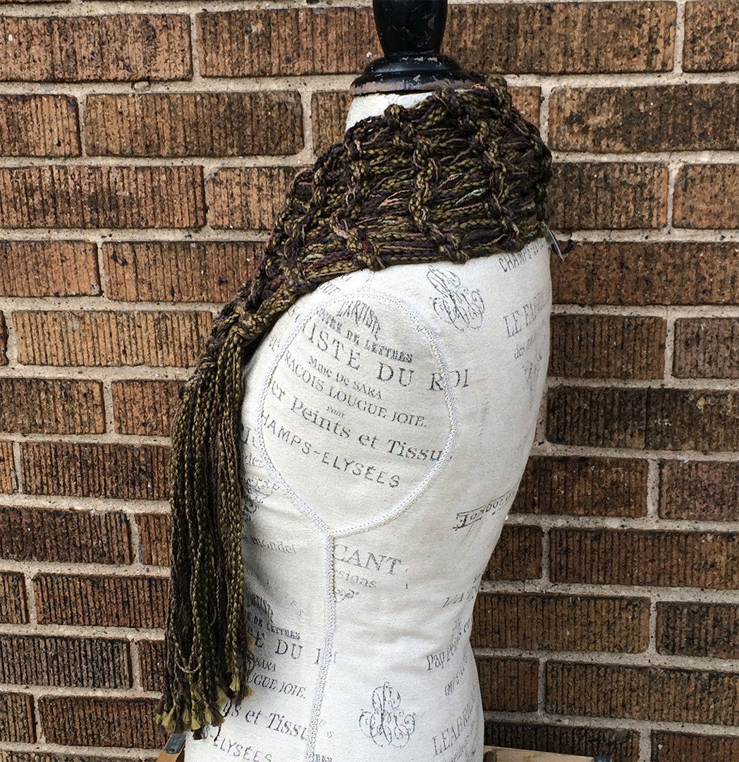 Brown & Green Tweed Shawlette w/Fringe