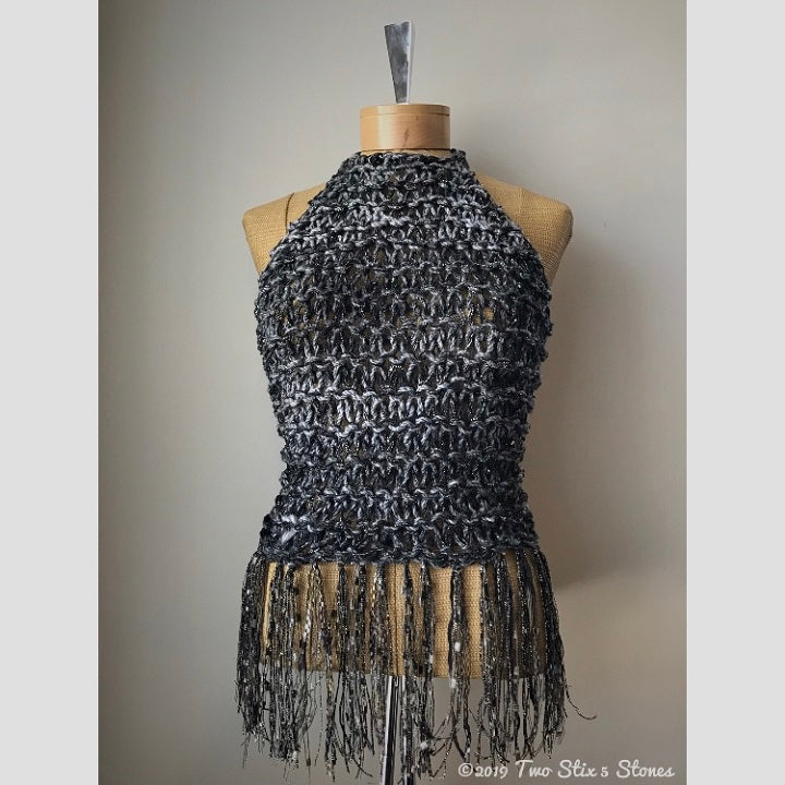 Black & Grey Tweed Halter Top w/Fringe