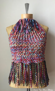Red/Blue/Green Tweed Halter Top