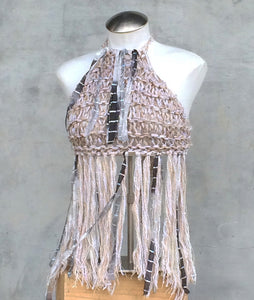 Oatmeal Tweed Hand Knit Halter Top w/Fringe