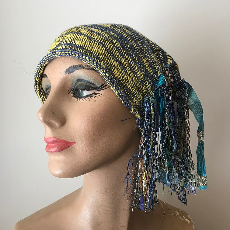 Blue & Yellow Tweed *Funky Chic Hat* (FH63)