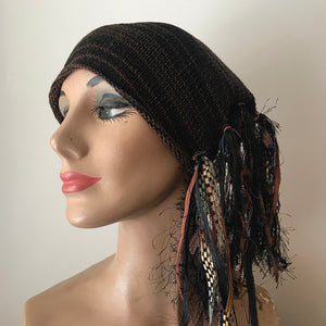Black & Brown Tweed *Funky Chic Hat* (FH54)