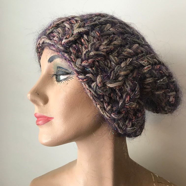 Brown Tweed Slouchy Hat w/Metallic Accents (SL04)