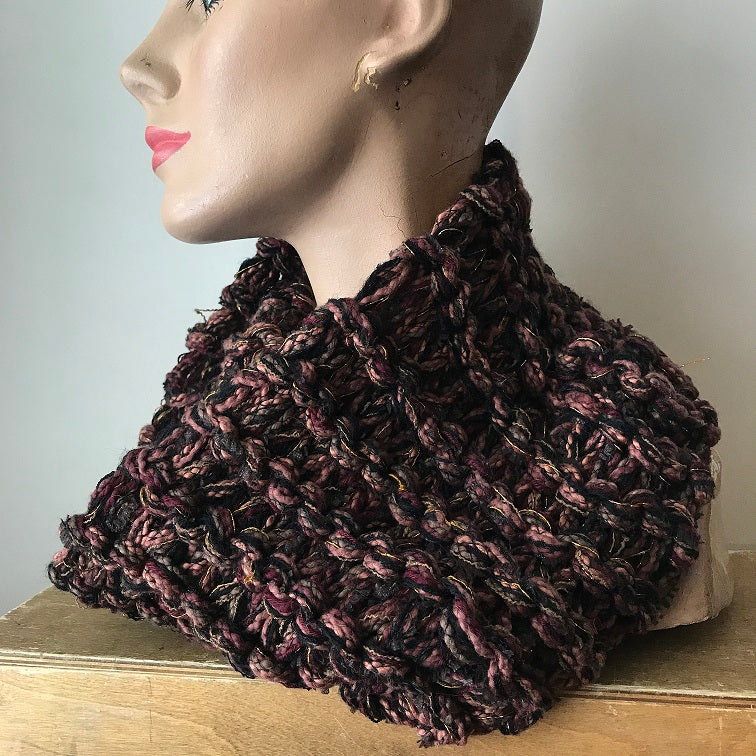 Brown Tweed Neck Warmer w/Metallic Accents (NW12)