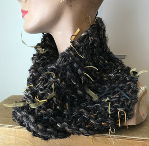 Chocolate Brown Tweed Neck Warmer w/Metallic Accents (NW06)