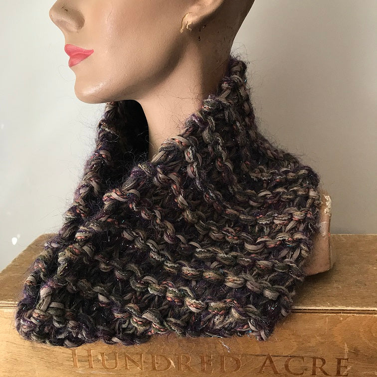 Brown Tweed Neck Warmer w/Metallic Accents, (NW08)
