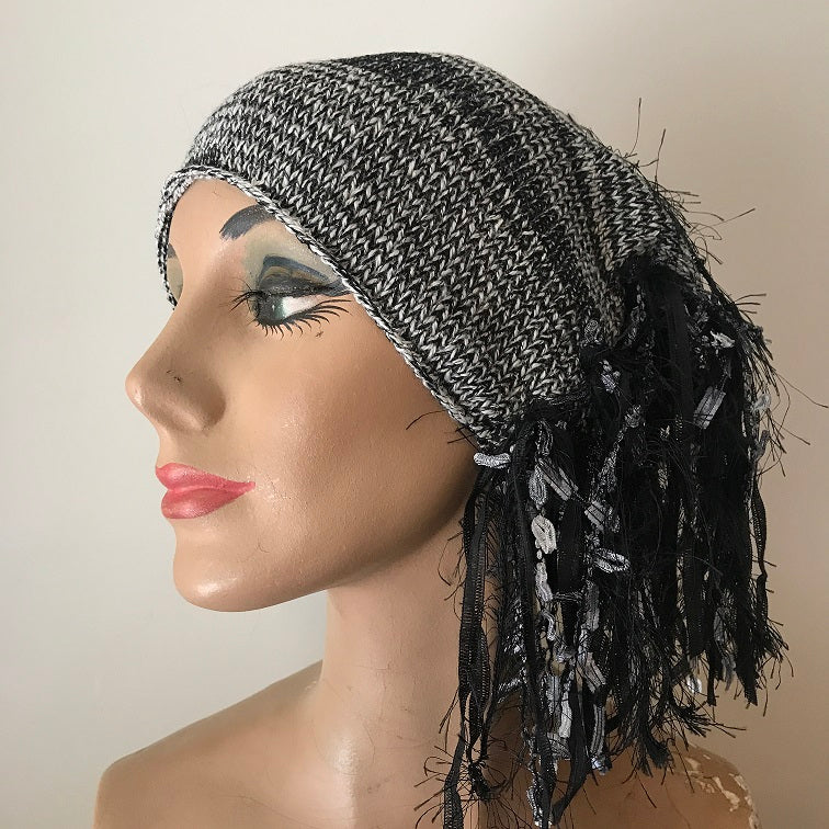 Black & Pale Grey *Funky Chic Hat* (FH66)