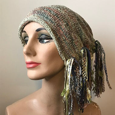Variegated Green & Gold Tweed *Funky Chic Hat* (FH73)