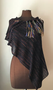 Black & Purple Tweed Fine Knit Shawl (SH710)